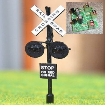 Pair of Level Crossing Signals with Alternating Flasher Module